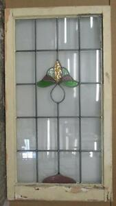 Large Old English Leaded Stained Glass Window Pretty Floral Design 20 5 X 37 5