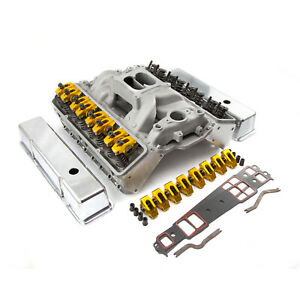 Chevy Sbc 350 Angle Plug Solid Ft Cylinder Head Top End Engine Combo Kit