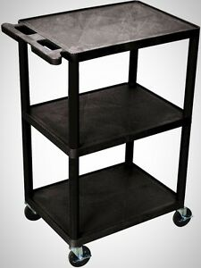 3 shelf Utility Cart Black Kitchen Accessories Moving Tool Home Appliance New