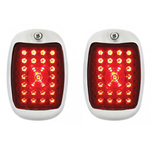1937 38 Chevy Car Led Sequential Tail Lights Black Assembly W Flasher Pair