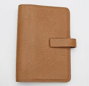 Filofax Dakota Bonded Embossed Grain Leather Sand Tan Personal Organizer Rare
