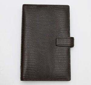Filofax Luxe Deluxe Calf Leather Lizard Print Ebony Brown Compact Organizer Rare