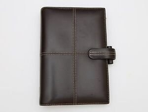 Filofax Classic Cross Calf Leather Chocolate Brown Personal Organizer Rare
