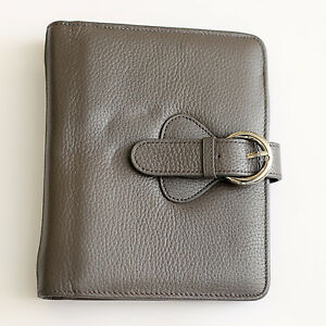 Franklin Covey Ava Compact Charcoal Gray Leather Open Binder Planner 1 Rings