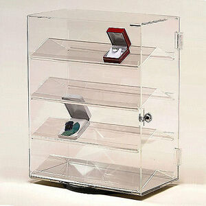 Acrylic Rectangular Revolving Countertop Showcase 13 1 2 X 7 3 8 X 17 3 8 h