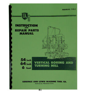 Giddings Lewis Inst Repair Parts Manual Vertical Boring Turning Mill 81