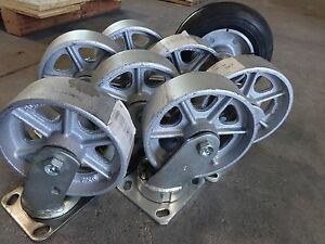 Lot Of Albion 6 X 2 Swivel Casters Iron 1 200 Lb Capacity Top Plate Mount