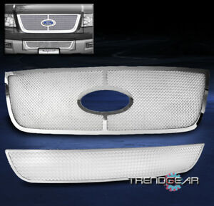 2003 2006 Ford Expedition Upper Bumper Stainless Steel Mesh Grille 2pcs Logo Cut