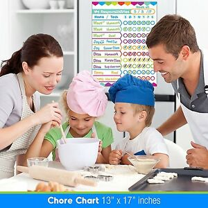Wet Dry Erase Laminated Magnetic Chore Responsibility Chart Planner Organizer