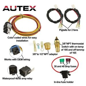 Dual Electric Cooling Fan Wiring Install Kits 185 165 Thermostat 50 Amp Relay
