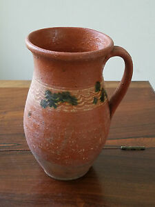 Antique Early 1900 S Romanian Country Folk Art Pottery Redware Clay Pitcher
