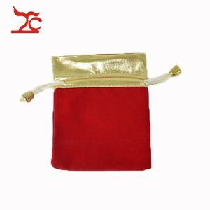 100pcs Velvet Red Golden Drawstring Present Organizer Storage Bag Jewelry Pouch