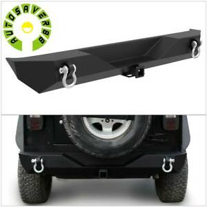 For Jeep Wrangler Jk Textured Rear Bumper W 2 Led Lights Hitch Receiver