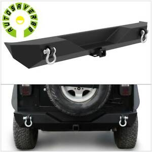 Textured Rear Bumper For 87 06 Jeep Wrangler Tj Yj W D rings Hitch Receiver
