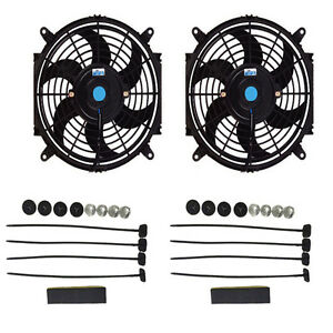 Dual 10 Inch Electric Automotive Radiator Cooling 12v Fan Slim Curved Blade