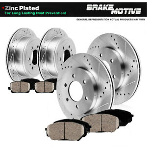 Front Rear Drill Slot Brake Rotors And Ceramic Pads For Cadillac Chevy Gmc