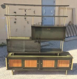 Mid Century Cane Brass And Wood Etagere Bookcase Wall Unit Vintage