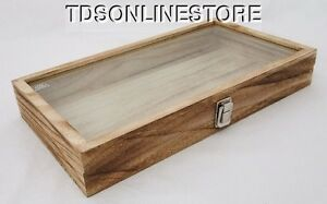 Rustic Wood Glass Top Display Case Antique Oak Color