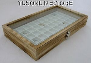 Rustic Antique Oak Color 50 Slot Jewelry Glass Top Display Case White