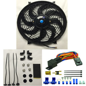 Single 14 Inch 12v Slim Electric Fan 185 Deg Thermostat Relay Sensor Kit