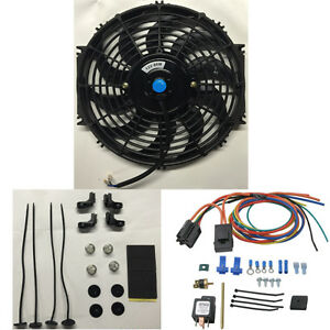 Single 10 Inch Electric Fan 185 Deg Thermostat Relay Sensor Kit Auto