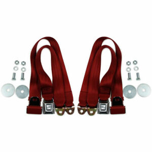 Red Universal 72 Lap Seat Belt W Hardware Hot Street Rod Muscle Classic Pair