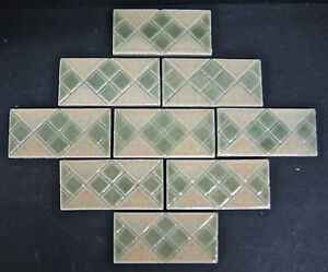 Vintage Decorated Subway Tiles By California Art Tile Co Set Of 9