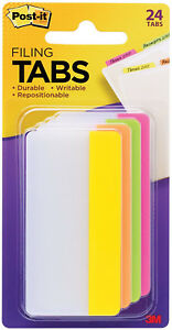 3m Post it Tabs 3 X 1 5 4 Bright Colors Durable Writable Repositionable 24pc