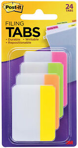 3m Post it Tabs 2 X 1 5 Durable Writable Repositionable 4 Bright Colors 24pc