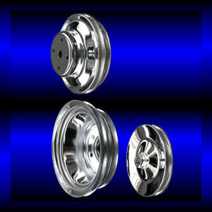 Chrome Big Block Chevy Pulley Set 3 Pulleys Long Pump Bbc 396 427 454 Keyway