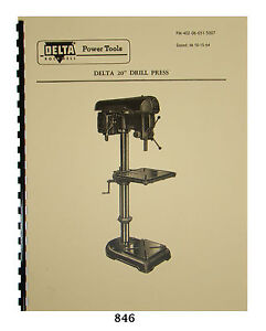Delta Rockwell 20 Drill Press Operating And Parts List Manual 846