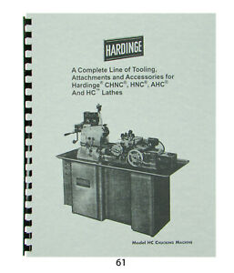 Hardinge Tooling Attachments For Models Chnc Hnc Ahc Hc Lathes Catalog 61