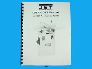 Jet Jj 6csx Woodworking Jointer Owners Manual 189