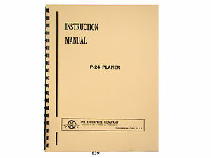 Enterprise Crescent P 24 Wood Planer Instruction And Parts List Manual 839