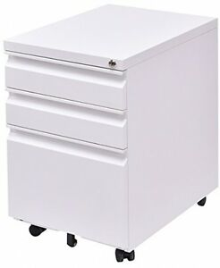 Giantex 3 Drawers Rolling Mobile File Pedestal Storage Cabinet Steel Home