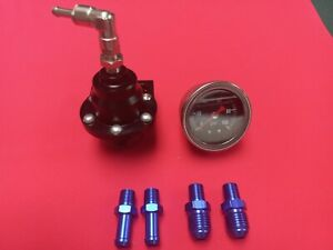 Universal Epman Black Adjustable Fuel Pressure Regulator With Liquid Fuel Gauge
