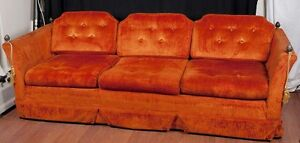 Vtg Mcm Mid Century Knoll Style Sofa Couch Sunset Orange Acorn Finials Dallas