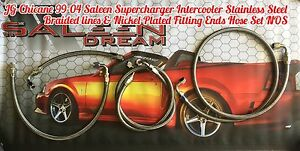 99 04 Saleen S281 Supercharged Mustang Stainless S Braided Intercooler Hose Set