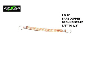 Universal 8 Inch Bare Copper Ground Strap Made In Usa Bonding