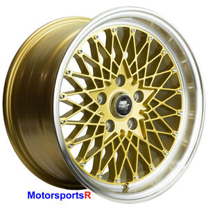 Mst Mt16 Wheels 16 X 8 20 Gold Deep Lip Rims 5x114 3 Stance 06 Acura Rsx Type S