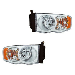 Fits 03 05 Dodge Ram New Style Driver Passenger Side Headlight Lamp Assembly