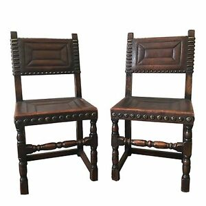 Antique Continental Leather Side Chairs