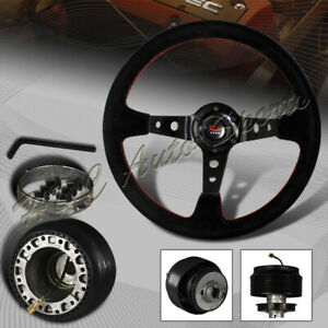 350mm 6 Hole Black Suede Leather Deep Dish Steering Wheel For Mitsubishi Hub