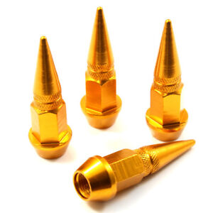 4 Gold Aluminum Metal Spike Wheel Tire Valve Stem Car Truck Air Caps Covers