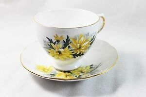 Royal Vale Bone China Yellow Flowers Tea Cup And Saucer