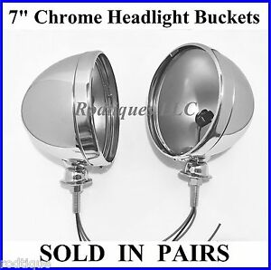 Chrome 7 Headlight Lamp Buckets Housings With Pigtail Wires Dietz Pair Antique