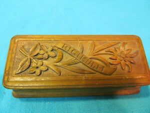 Vintage Rigi Kulm Carved Wood Pill Stamp Box Switzerland Souvenir