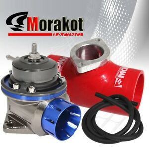 40mm Car Blue Billet Type Fv Bov Blow Off Valve 2 5 Inch Coupler Adapter Red Jdm