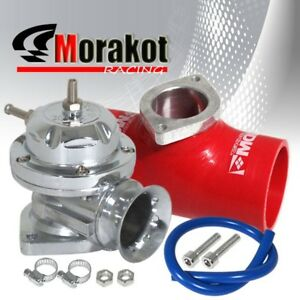 Chrome Silver Type Rs Bov Blow Off Valve 2 5 Inch Red Silicone Coupler Adapter