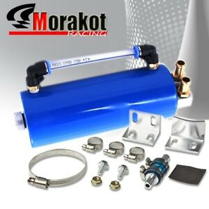 Universal Round Aluminum 750ml Engine Oil Catch Can Reservoir Tank Kit Blue